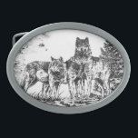 "Three Wolves Custom Belt Buckle<br><div class=""desc"">A custom designed Belt Buckle with an illustration of 3 wolves together. Makes a great gift for birthday&#39;s,  graduation or just a special gift for someone you care about.</div>"