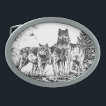"""Three Wolves Custom Belt Buckle<br><div class=""""desc"""">A custom designed Belt Buckle with an illustration of 3 wolves together. Makes a great gift for birthday&#39;s,  graduation or just a special gift for someone you care about.</div>"""