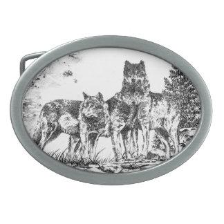 Three Wolves Custom Belt Buckle Oval Belt Buckles