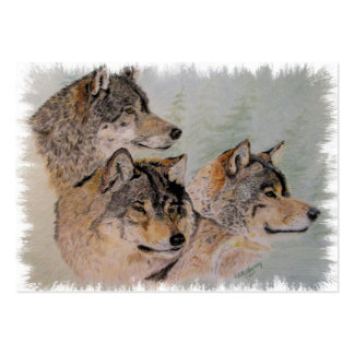 three wolves framed large business card
