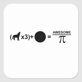 Three wolves one moon equals awesomeness on Pi Square Sticker