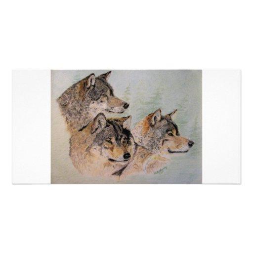 Three Wolves Photo Card