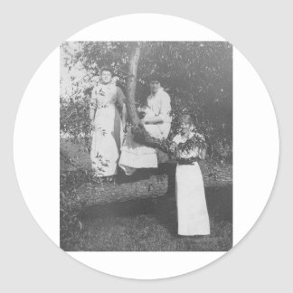 Three Women by tree 1900's Classic Round Sticker