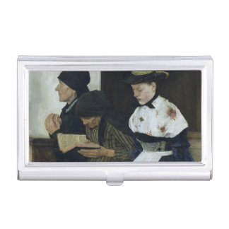 Three Women in Church, 1882 Business Card Holder