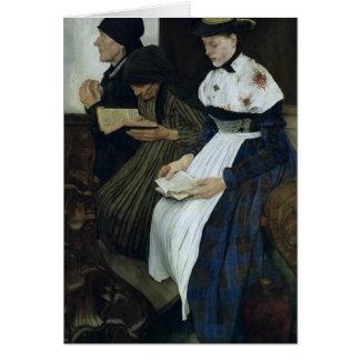 Three Women in Church, 1882 Card