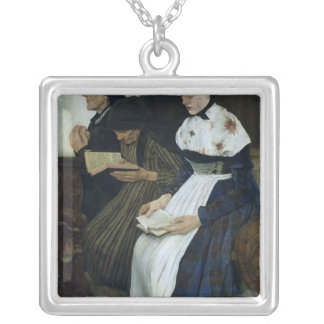 Three Women in Church, 1882 Silver Plated Necklace
