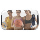 three women of different race, holding samsung galaxy SIII covers