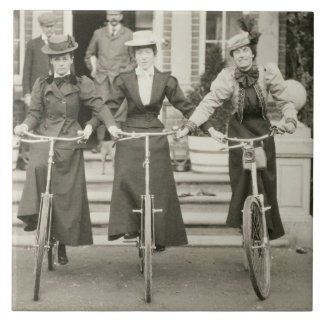 Three women on bicycles, early 1900s (b/w photo) ceramic tile