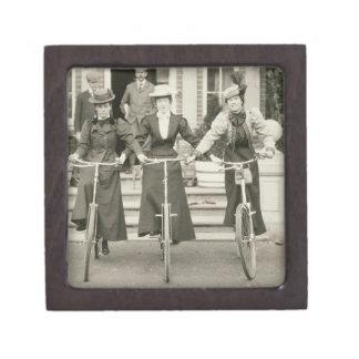 Three women on bicycles, early 1900s (b/w photo) jewelry box