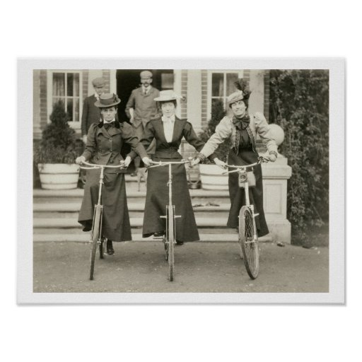 Three women on bicycles, early 1900s (b/w photo) posters