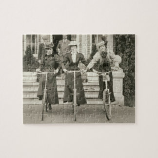 Three women on bicycles, early 1900s (b/w photo) jigsaw puzzle
