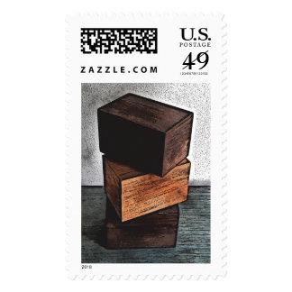 Three Wooden Boxes On Dresser Postage