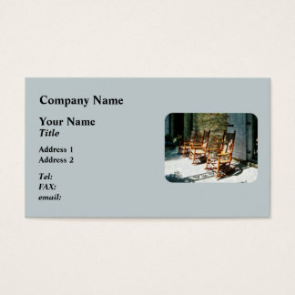 Three Wooden Rocking Chairs on Sunny Porch Business Card