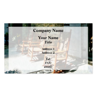 Three Wooden Rocking Chairs on Sunny Porch Double-Sided Standard Business Cards (Pack Of 100)