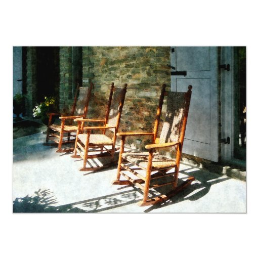 """Three Wooden Rocking Chairs on Sunny Porch 5"""" X 7"""" Invitation Card"""