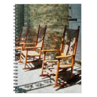 Three Wooden Rocking Chairs on Sunny Porch Spiral Notebooks