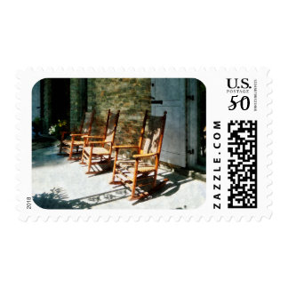 Three Wooden Rocking Chairs on Sunny Porch Postage