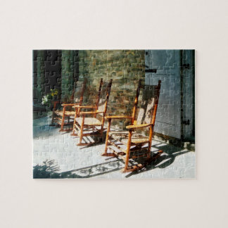 Three Wooden Rocking Chairs on Sunny Porch Puzzle