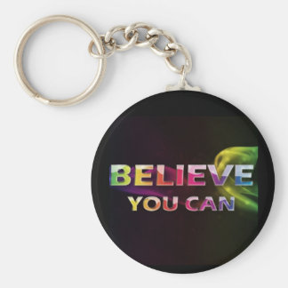 Three Word Quotes ~Believe You Can~ Basic Round Button Keychain