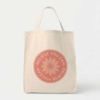 Three Word Quotes ~Believe You Can~ Grocery Tote Bag