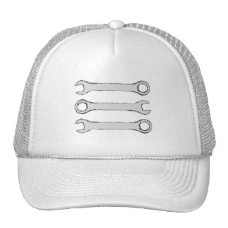 Three Wrenches. Gray and Black. Mesh Hats