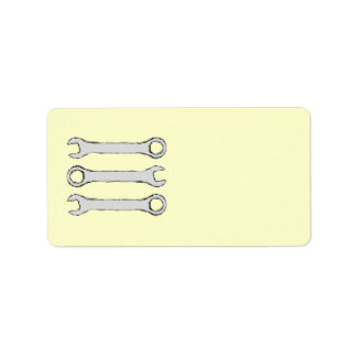 Three Wrenches. Gray and Black. Custom Address Label
