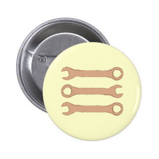 Three Wrenches. Tools. Brown. Pinback Button