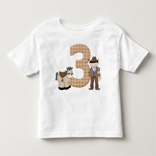 Three Year Old Cute Cowboy Toddler T-shirt