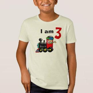 Three year old toy train birthday boy T-Shirt