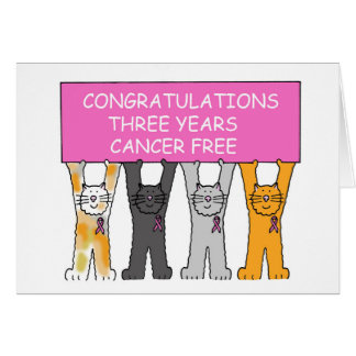Three Years Cancer Free Congratulations. Card