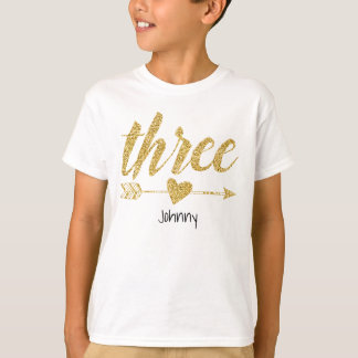 Three Years Old|Glitter-Print Personalized T-Shirt