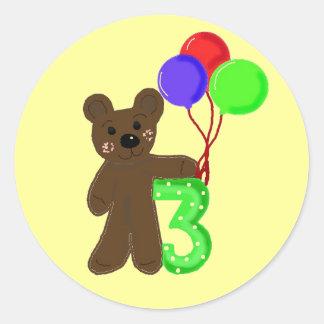 Three Years Old Teddybear Design Classic Round Sticker