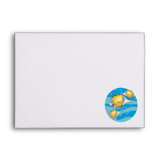 three yellow butterfly fish envelope