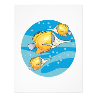 three yellow butterfly fish full color flyer