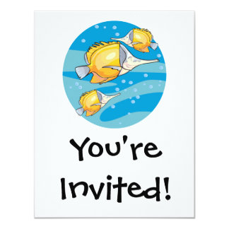 "three yellow butterfly fish 4.25"" x 5.5"" invitation card"