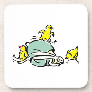 three yellow chicks dancing on weird bunny.png coaster