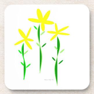 Three Yellow Flowers Drink Coasters