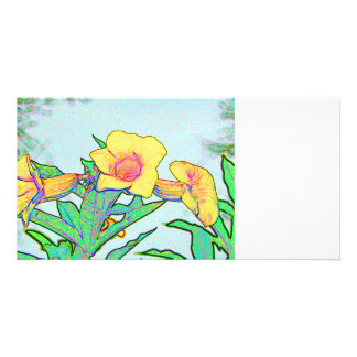 three yellow flowers sketch floral design photo greeting card