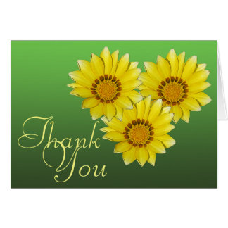Three Yellow Gerbera Daisy Photo Floral Thank You Card