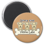 Three Yellow Labs 2 Inch Round Magnet