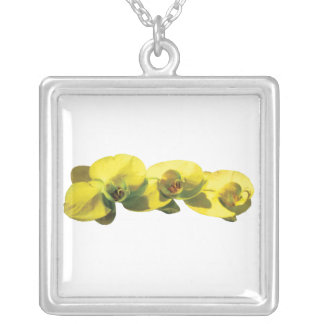 Three Yellow Orchids Square Pendant Necklace