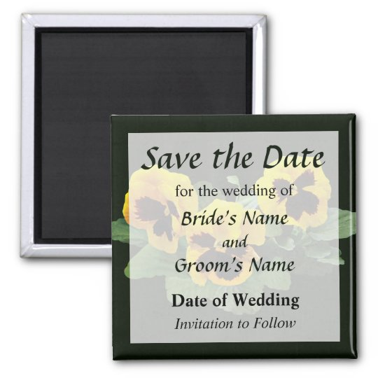 Three Yellow Pansies Save the Date Magnet