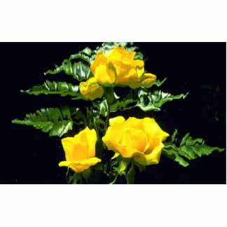 Three yellow roses standing photo sculpture