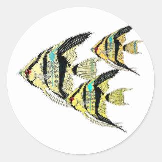 Three Yellow Tribal Angelfish Classic Round Sticker