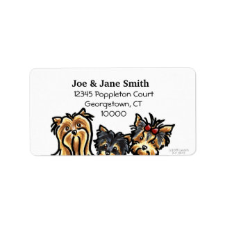 Three Yorkies Clean and Simple Address Label