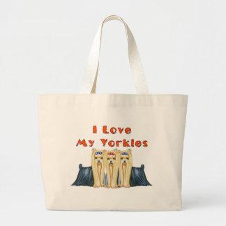 Three Yorkies I Love Large Tote Bag