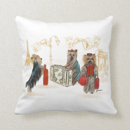 Three Yorkies Traveling Paris Throw Pillow