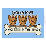 Three Yorkshire Terriers Greeting Card
