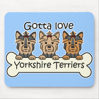 Three Yorkshire Terriers Mouse Pad