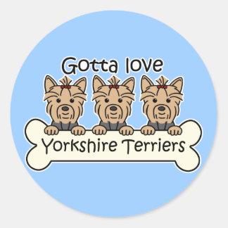 Three Yorkshire Terriers Round Stickers
